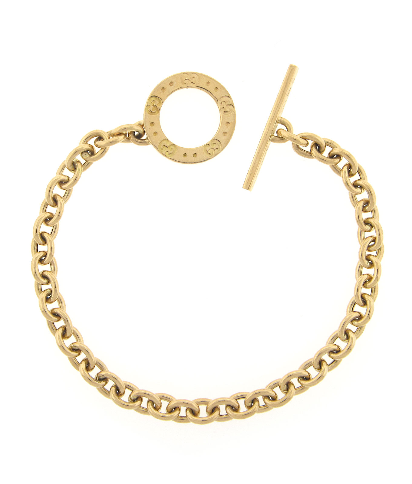 Toggle Charm Bracelet: Gucci 18K Yellow Gold Link Charm Bracelet W/Toggle Clasp