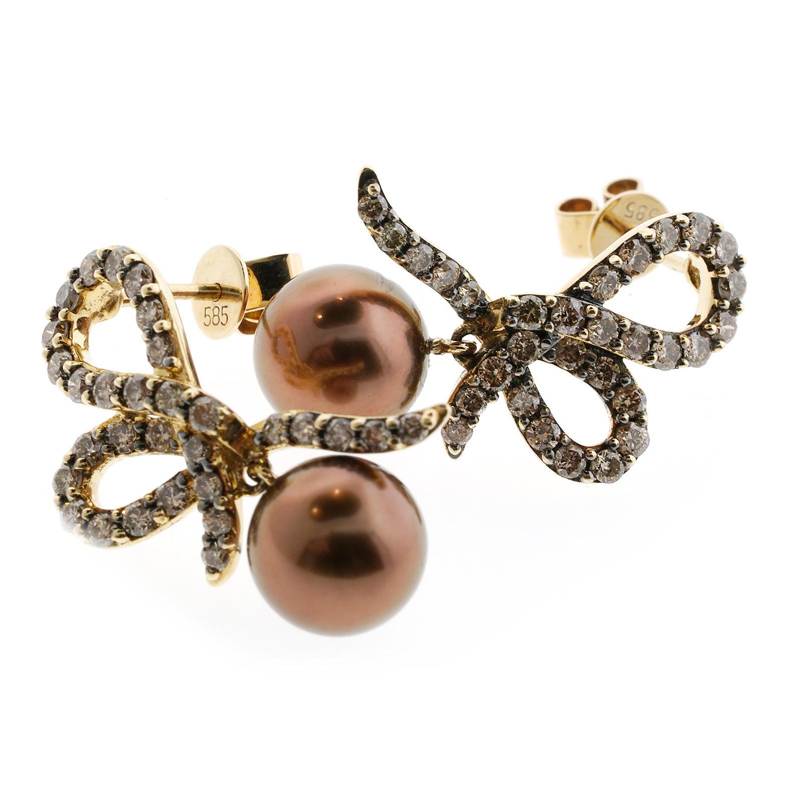 levian encore pearl and chocolate diamond earrings 4995. Black Bedroom Furniture Sets. Home Design Ideas