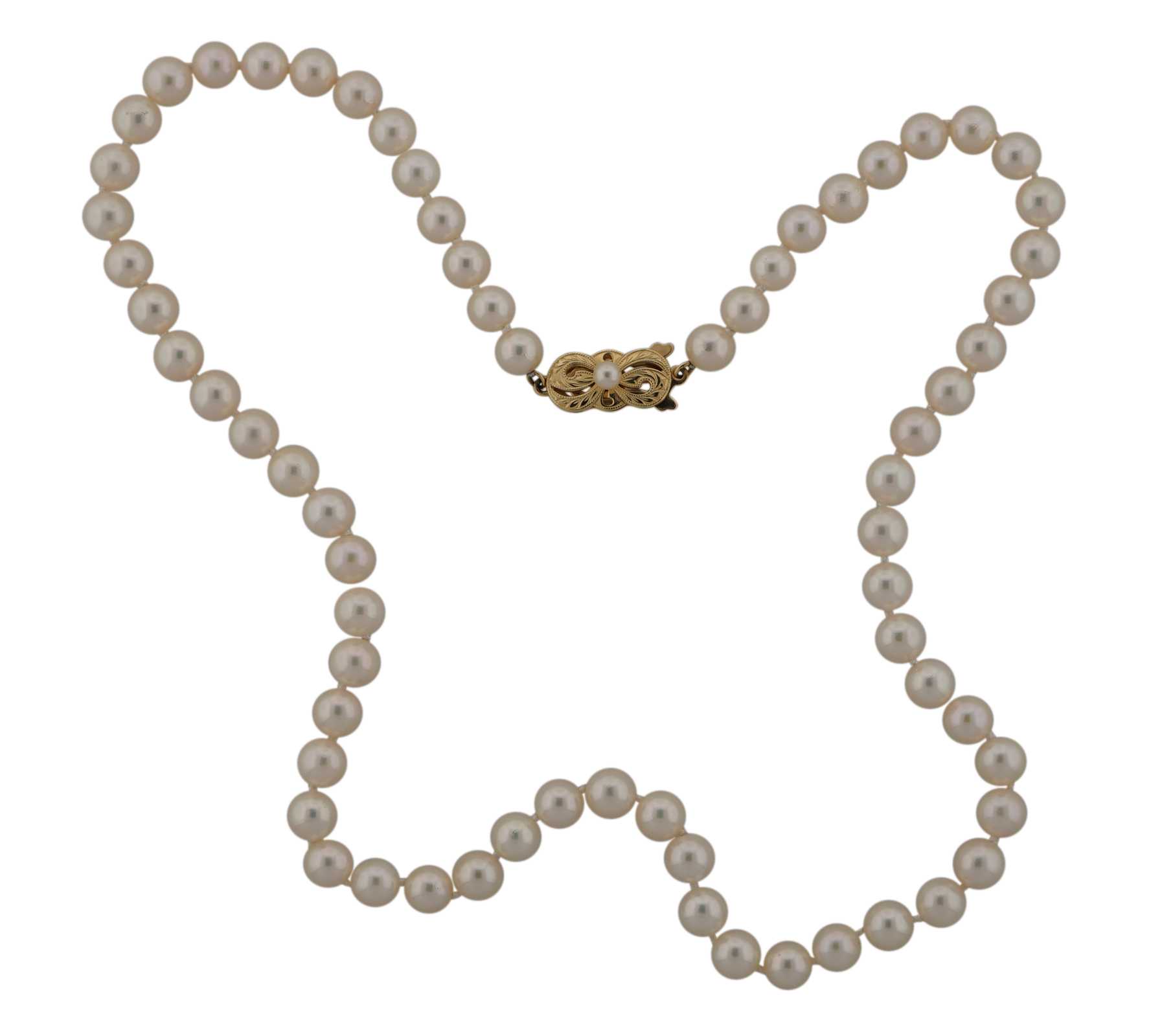 """Pearl Necklace Clasps: Mikimoto 18"""" 6.0-6.5mm Pearl Necklace 14K Yellow Gold Clasp"""