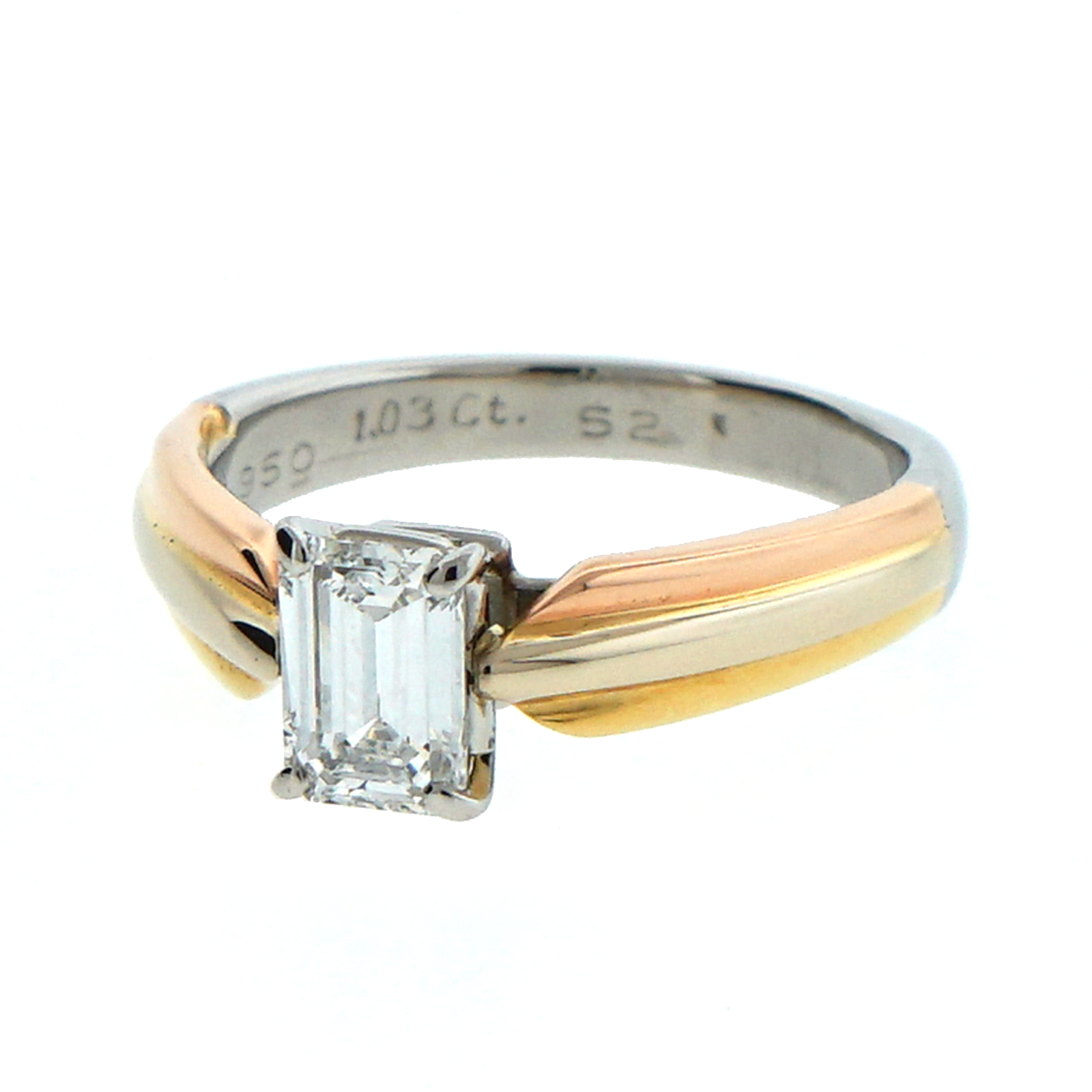 Cartier Solitaire Emerald Cut Trinity Setting Engagement